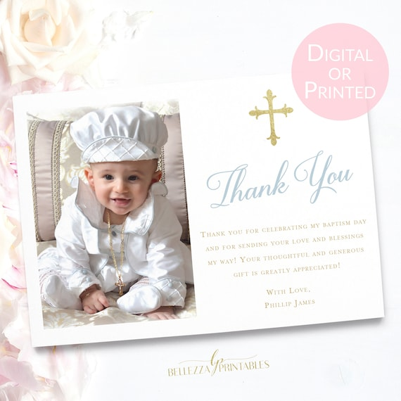 Baptism Thank You For Boy Baby Blue Baptism Thank You Card Set