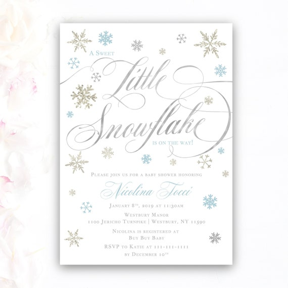 boy baby shower invitations snowflake winter invitations a etsy