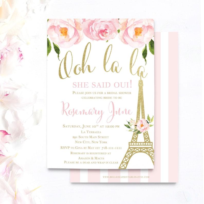 995caf0fc1b1 Paris Bridal Shower Invitations Eiffel tower invites