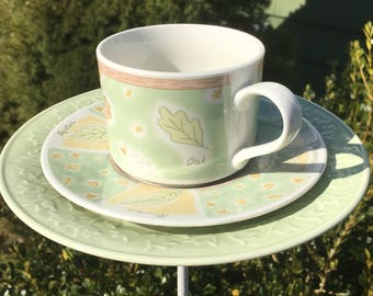 Country garden feeder - tea cup feeder - garden accessory - upcycled bird feeder - garden gift for mom - butterfly or humming bird feeder