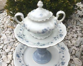 Ceramic bird feeder - garden whimsy - garden accessory - china yard art - upcycled bird feeder - vintage bird bath - garden totem - whimsy