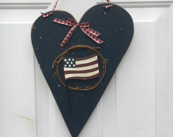 USA heart - red, white and blue heart decoration - Americana decor - 4th of July decor - patriotic door hanger - patriotic party decor