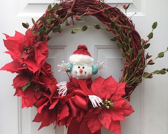 red christmas wreath red winter decor winter wreath winter front door wreath snowman wreath poinsettia wreath grapevine wreath - Red Christmas Wreath