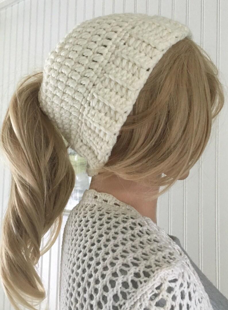 405bf6dd ponytail hat - messy bun hat - crochet bun hat - messy bun beanie -  ponytail beanie - winter accessory - long hair hat - bad hair day hat