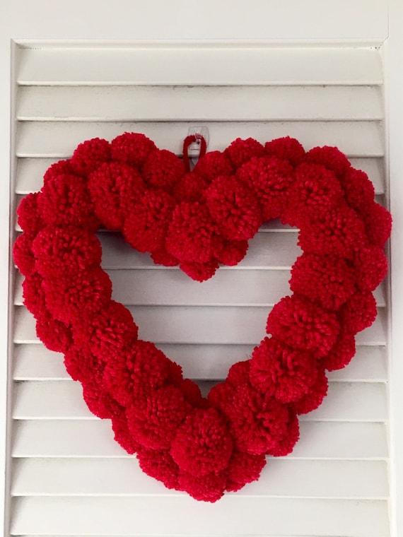 handmade gift valentines present wall//door hanger. Little pom pom wreath