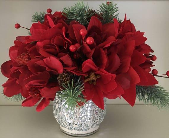 Red christmas flower arrangement table centerpiece silk mightylinksfo