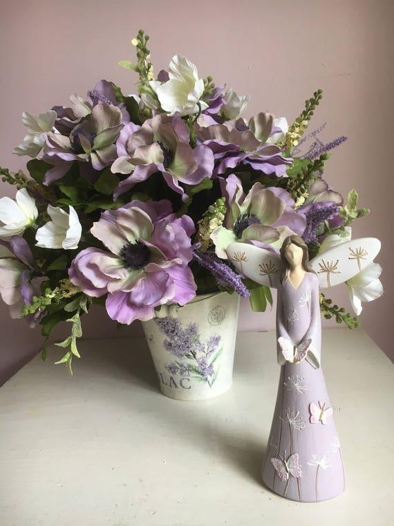 Purple silk flower arrangement in tin bucket purple and etsy image 0 mightylinksfo