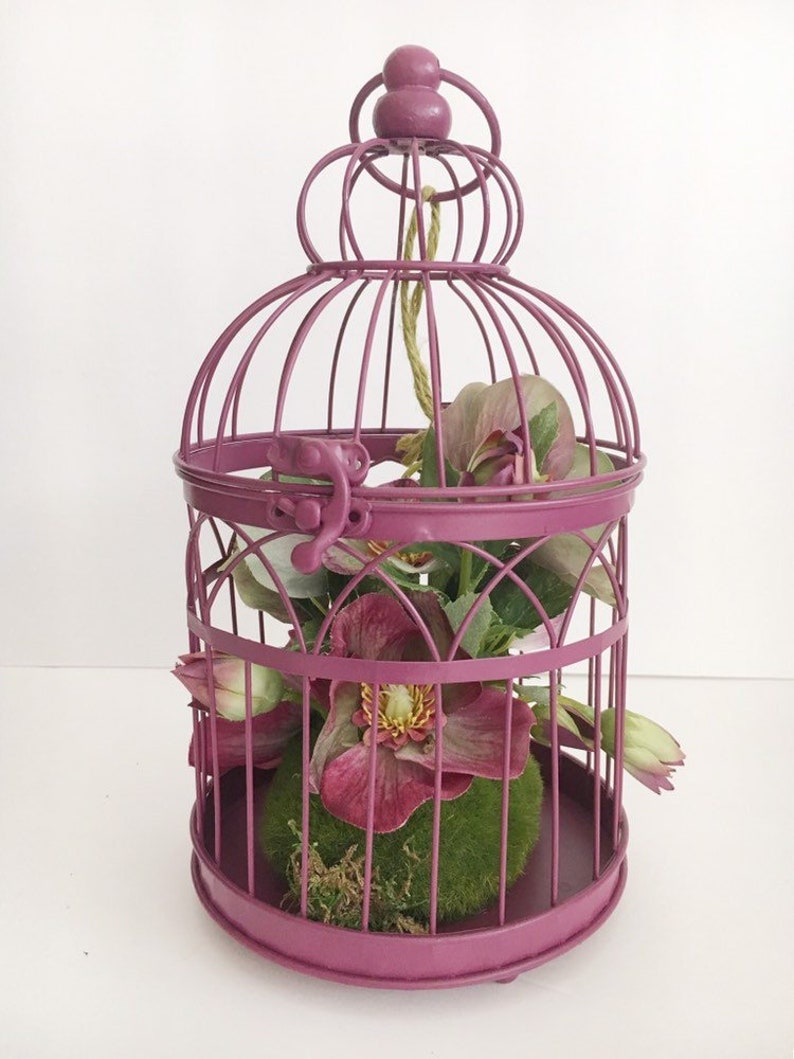 Bird cage flower arrangement - small floral bird cage - shabby chic home  decor - romantic wedding decor - shabby chic flower decor