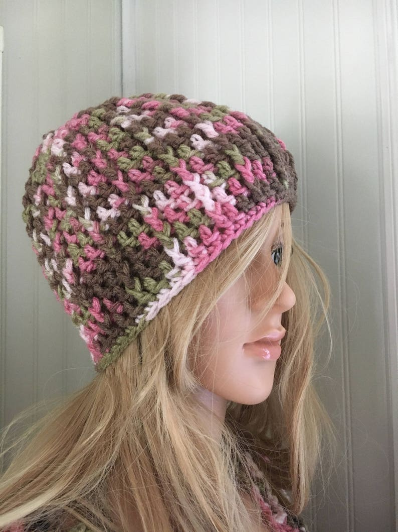 Camo crochet hat for women and teenage girls crochet beanie in pink camo Fall and Winter accessory for her handmade winter hat