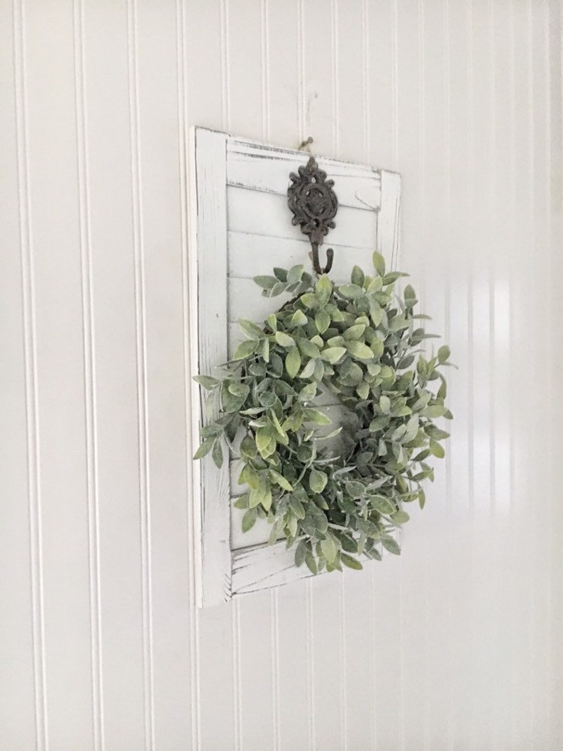 Farmhouse Wall Hanging With Wreath Floral Shutter Wall Decor Cottage Chic Wall Decor French Country Decor