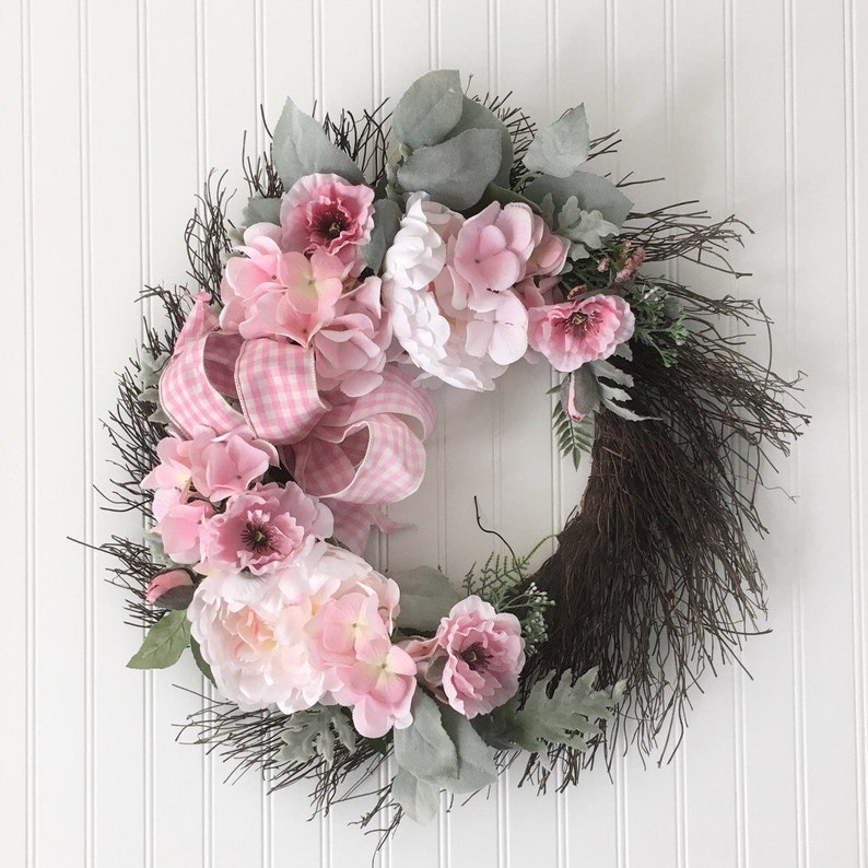 Pink And White Flower Wreath   Front Door Wreath   Shabby Chic Decor    Cottage Chic Wreath   Twig Wreath   Flower Wall Wreath   Plaid Bow