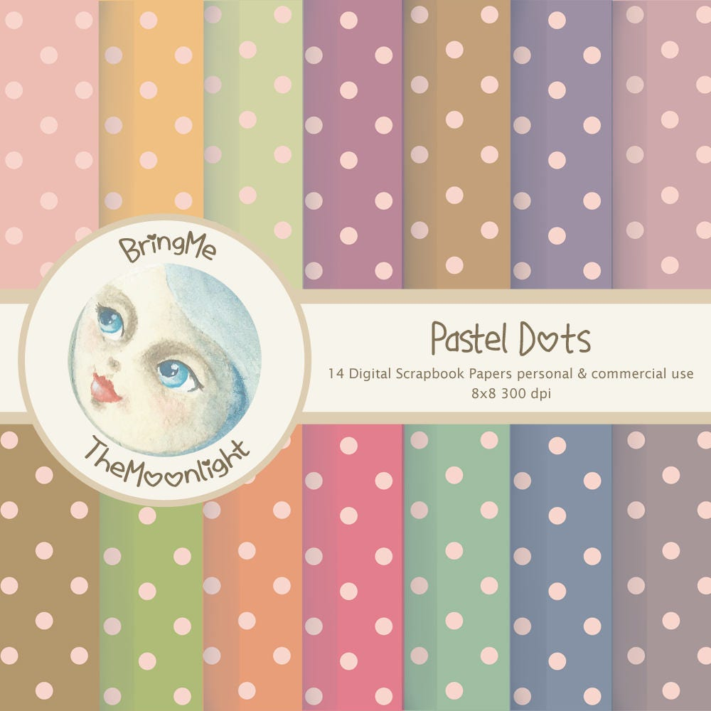 Vintage Polka Dots Digital Paper Shabby Pink Beige Old Blue Etsy