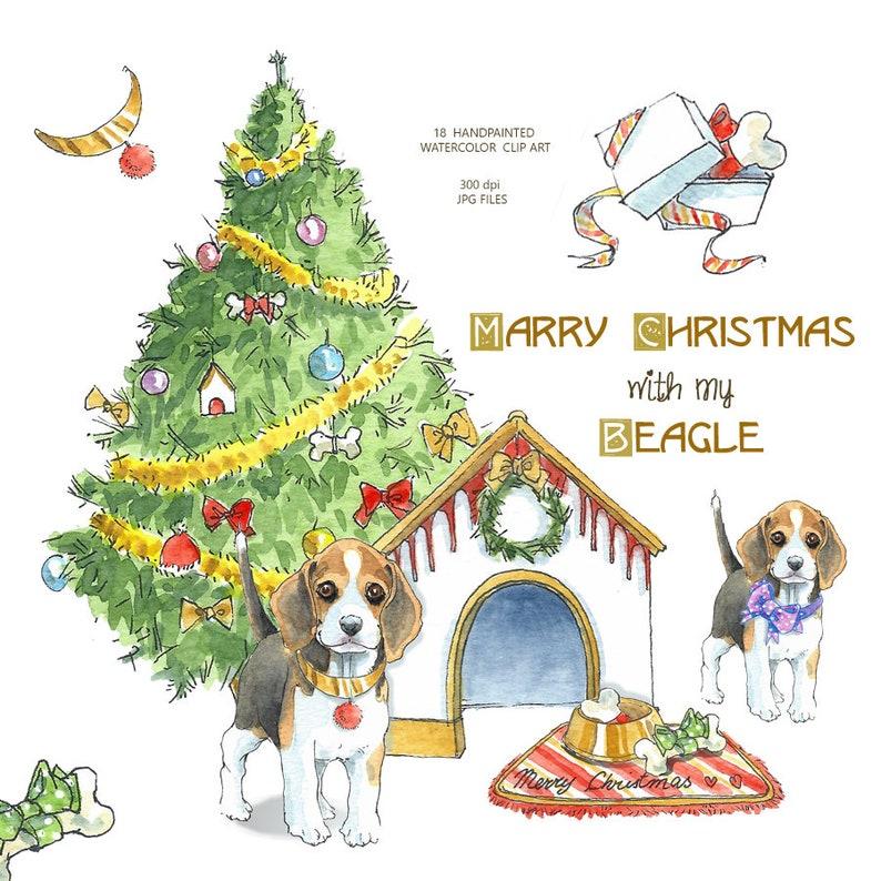 Christmas Beagle Clipart.Dog Clipart Watercolor Dog Clipart Beagle Clipart