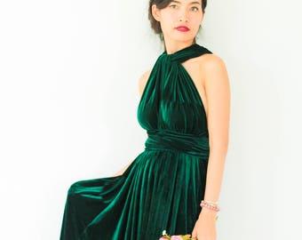 498773fb43c4b Plus Size Emerald Green Velvet Dress Bridesmaid Dress Maxi infinity Dress  Prom Dress Convertible Dress Wrap Dress
