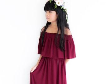 Wine Off The Shoulder  Flower Girl Dress, Flower Girl Dresses, Baby Dresses