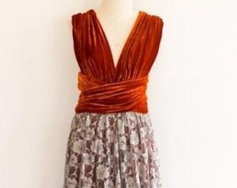 55e94d505ab8 Burnt orange velvet dress with gray lace overlay Bridesmaid Dress