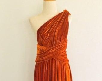 43b29f1a7498 Burnt orange velvet dress