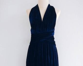 080eb803ec8f Plus Size Navy Blue Velvet Bridesmaid Dress Maxi infinity Dress Prom Dress  Convertible Dress Wrap Dress