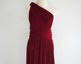 aab839fd0edc Plus Size Burgundy Velvet Dress Bridesmaid Dress Maxi infinity Dress Prom  Dress Convertible Dress Wrap Dress