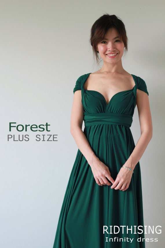 Plus Sizes Maxi Forest Green Bridesmaid Dress infinity Dress Prom Dress  Convertible Dress Wrap Dress