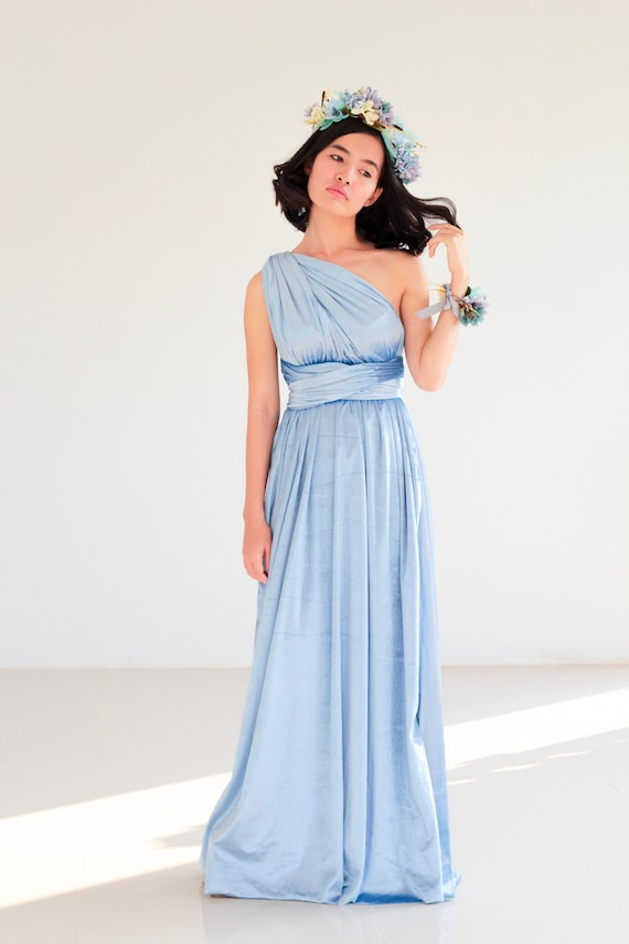 Sky blue Velvet Bridesmaid Dress Powder Blue infinity Dress | Etsy