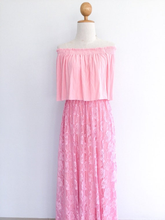 Baby Pink Off Shoulder Dress With Pink Lace Overlay Skirt Bridesmaid Dress Ruffles Dress Maxi Long Maternity Dress Prom Dress