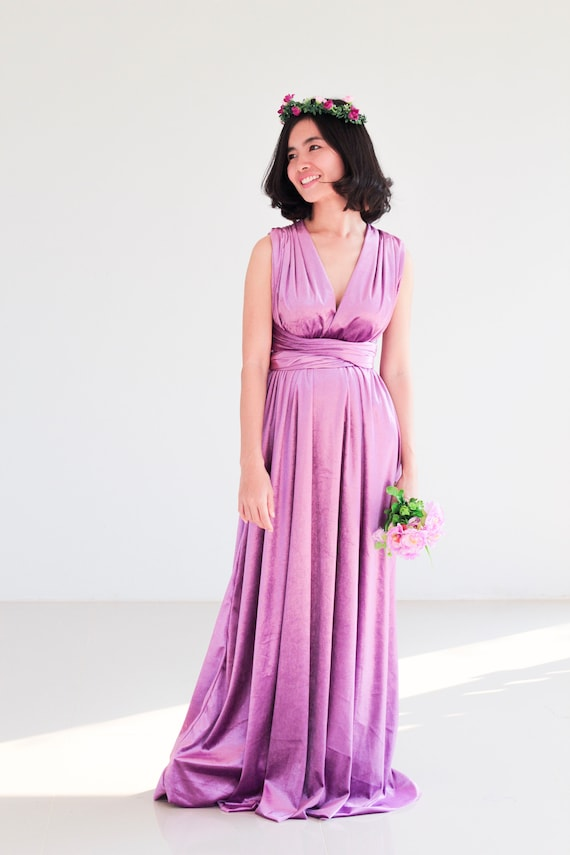 Plus Size Lavender Velvet infinity Dress lilac Bridesmaid Dress Maxi  infinity Dress Prom Dress Convertible Dress Wrap Dress