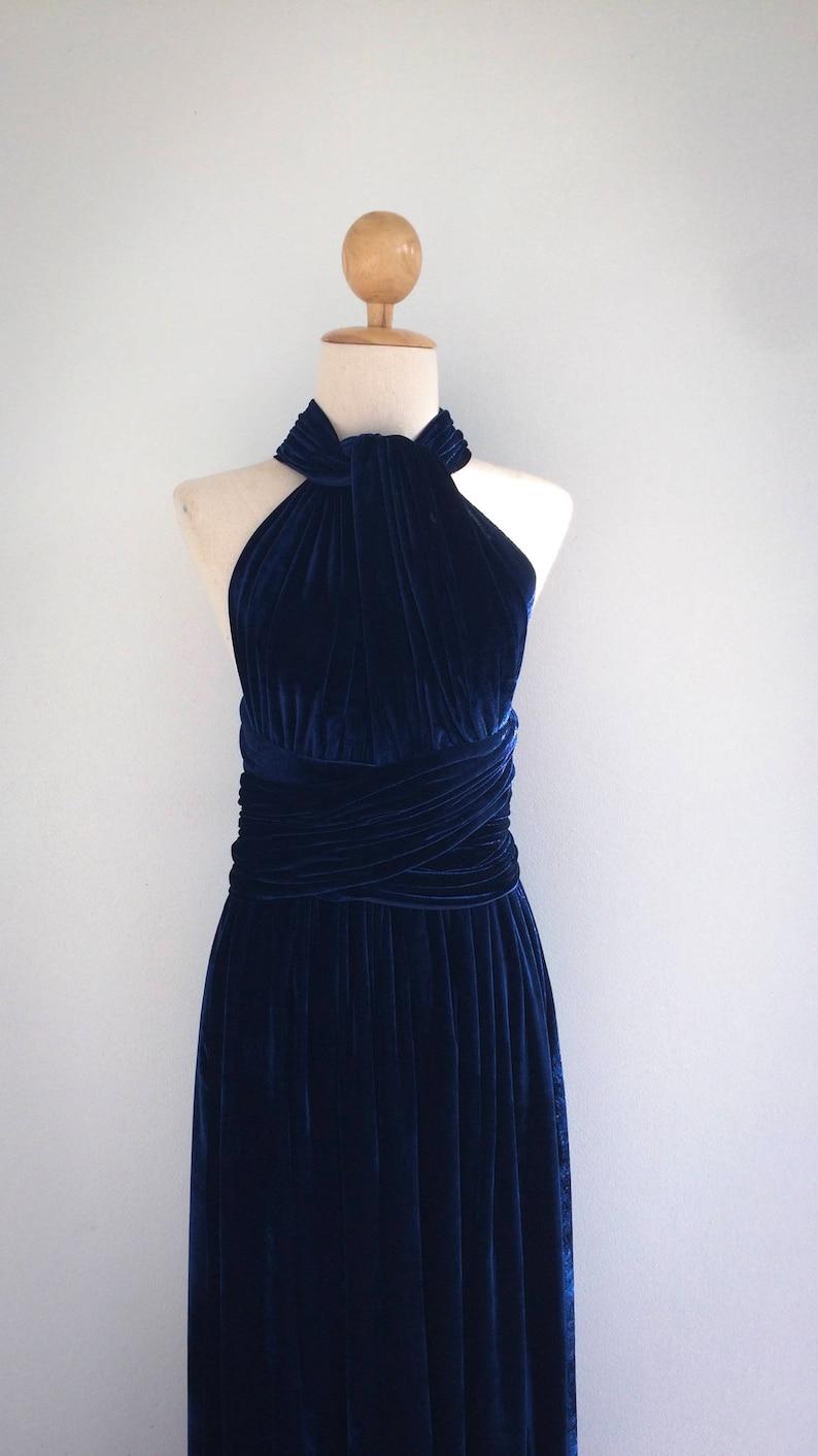 a6eb711c1977 Plus Size Navy Blue Velvet Bridesmaid Dress Maxi infinity | Etsy
