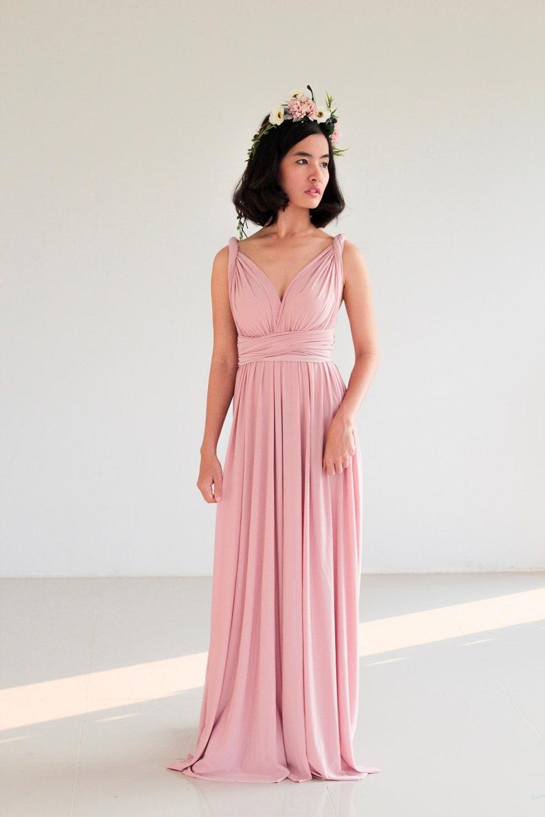 sports shoes 2f2c4 ccced Polveroso rosa Infinity abito damigella d'onore abito Prom Dress  Convertible avvolgere Abito