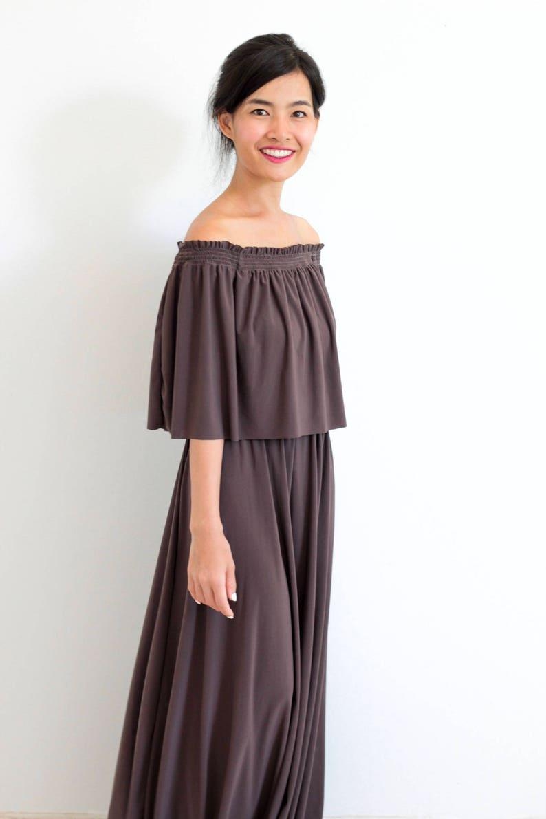 60329afce001 Dark Brown Bridesmaid Dress Off Shoulder With Ruffles Dress