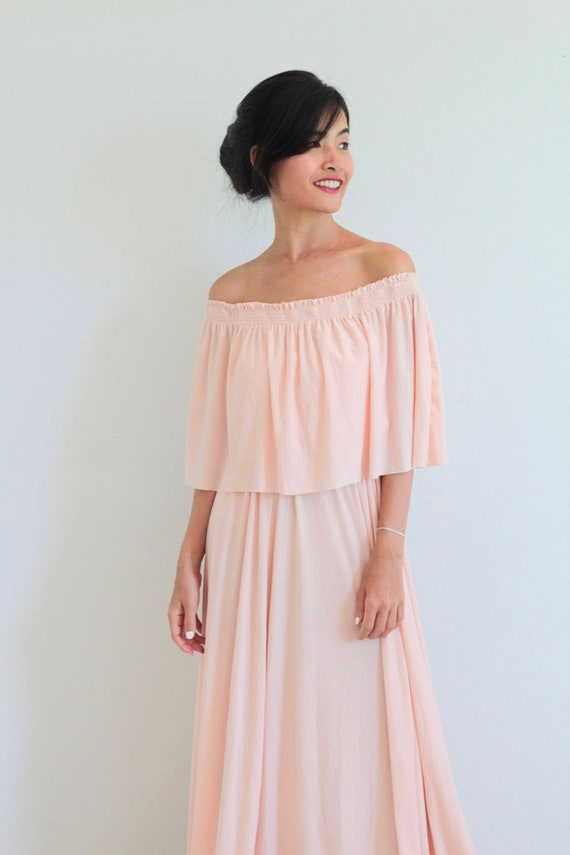 79623373d5e Bridesmaid dress   Nude pink Off Shoulder With Ruffles Dress
