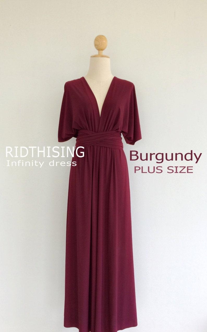 79859f53f9f Plus Size Maxi Burgundy Infinity Dress Bridesmaid Dress Prom