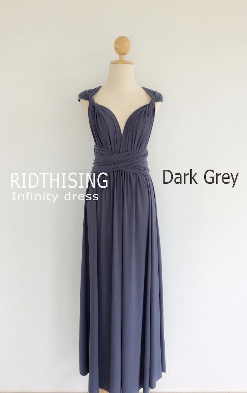 ba13bb9881 Maxi Dark Grey Infinity Dress Bridesmaids Dress Prom Dress