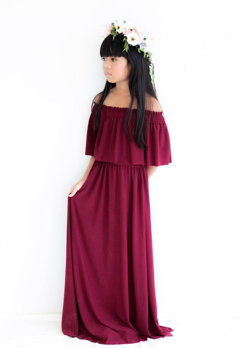 80de7bbb5cea Wine Off The Shoulder Flower Girl Dress Flower Girl Dresses