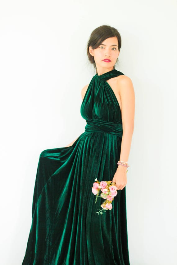 Plus Size Emerald Green Velvet Dress Bridesmaid Dress Maxi infinity Dress  Prom Dress Convertible Dress Wrap Dress