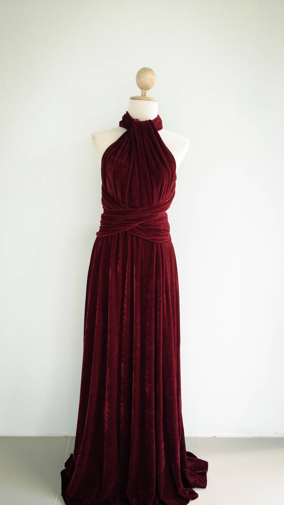 Burgundy Velvet Dress Bridesmaid Dress Infinity Dress Prom