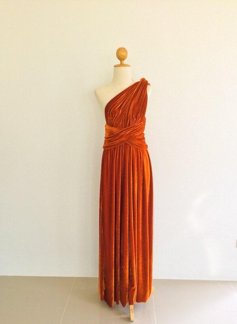 50153c76890 Burnt orange velvet dress Bridesmaid Dress Infinity Dress
