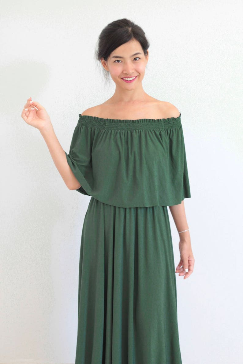 f9678eef3d5b5 Bridesmaid dress / Olive Green Off Shoulder With Ruffles Dress | Etsy
