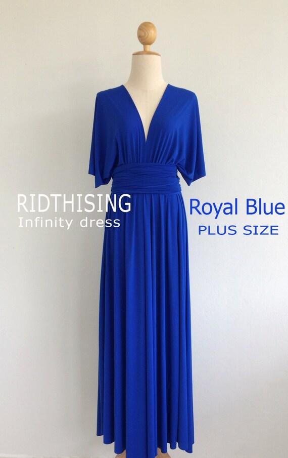 Plus Size Maxi Royal Blue Bridesmaid Dress Infinity Dress