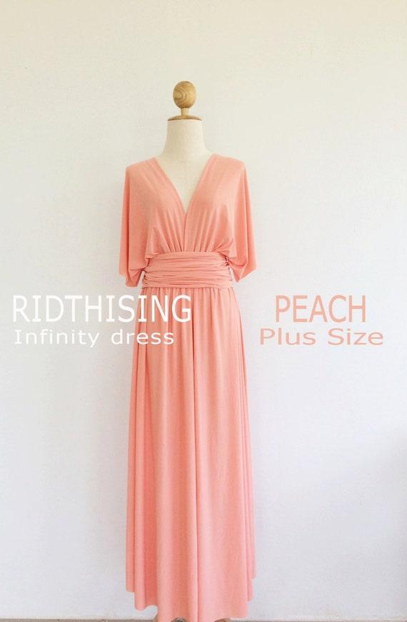 Plus Size Peach Bridesmaid Dress Maxi infinity Dress Prom Dress Convertible  Dress Wrap Dress