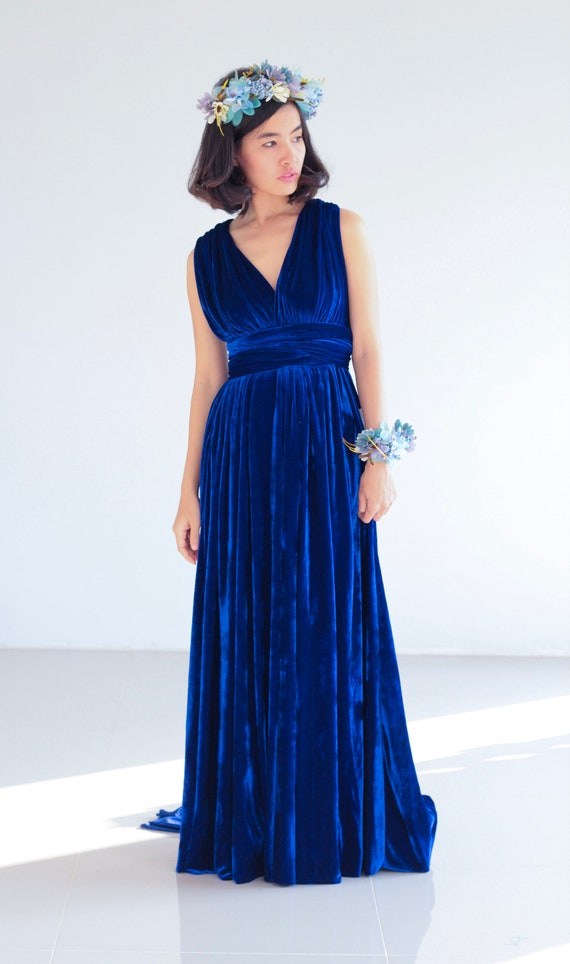 0d98f270eb7b Royal Blue Velvet Bridesmaid Dress Infinity Dress Prom | Etsy