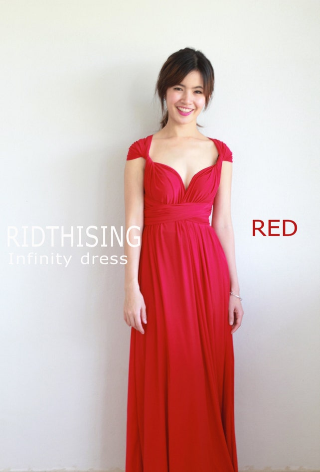 d41ddbf7dae Maxi Red Bridesmaid Dress Infinity Dress Prom Dress Convertible Dress Wrap  Dress