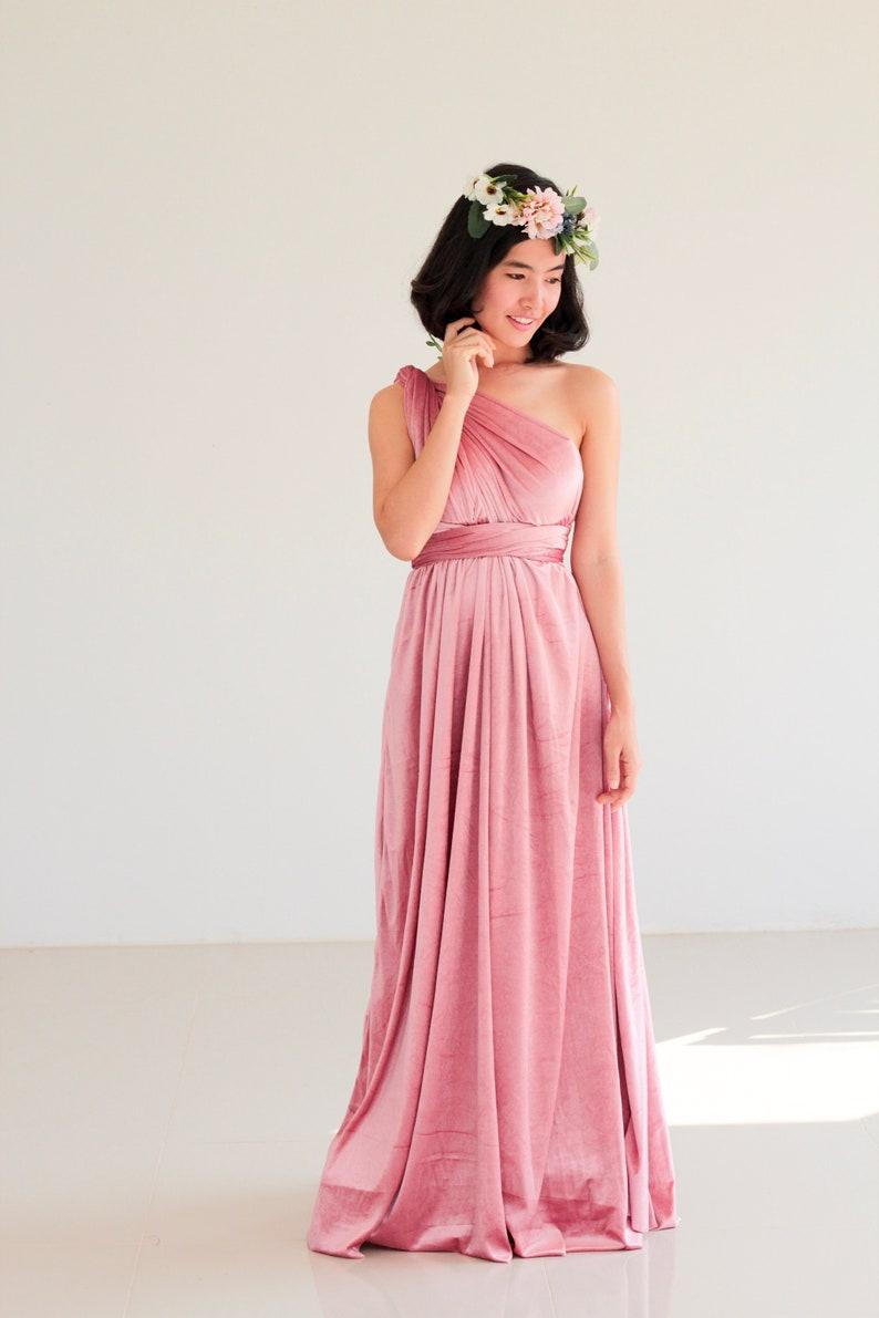Nude Pink Bridesmaid Dress Convertible Dress Infinity Dress