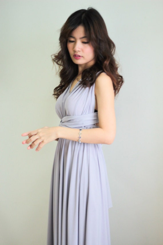 Plus Size Light Grey Bridesmaid Dress Maxi Infinity Dress Prom Etsy