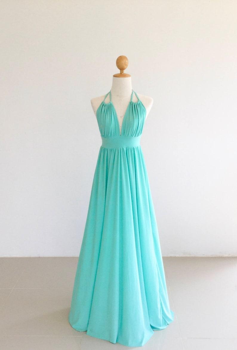 Aqua open back  Bridesmaid dress  Maxi Long Dresses Maternity Dress open back dress