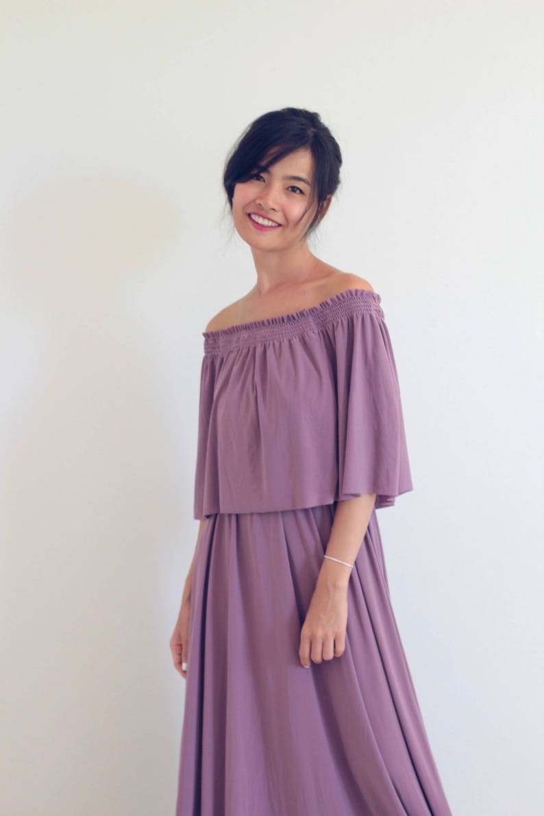 a8930e413d92 Bridesmaid dress   Twilight Violet Off Shoulder With Ruffles