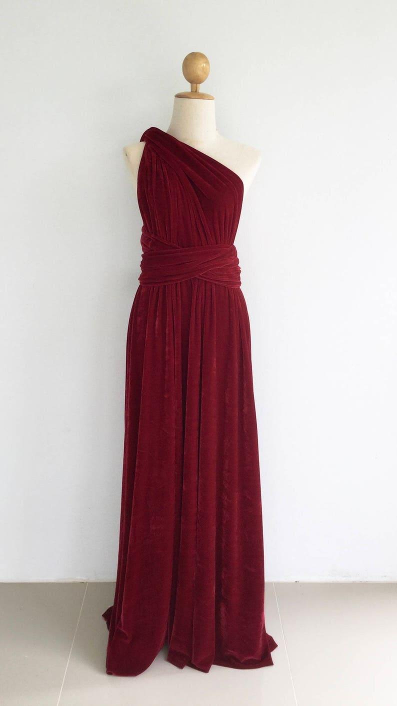 Plus Size Burgundy Velvet Dress  Bridesmaid Dress Maxi infinity Dress Prom Dress Convertible Dress Wrap Dress