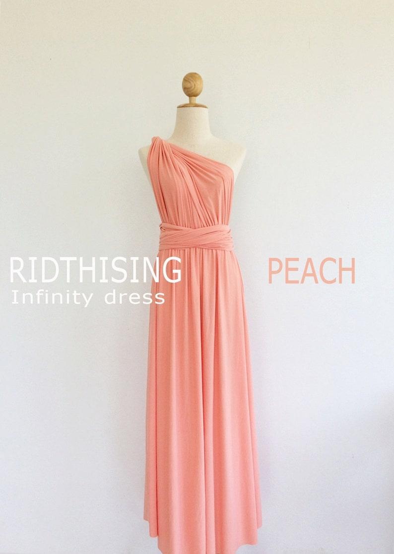 e94bbeb30d2 Maxi Peach Bridesmaid Dress Infinity Dress Bridesmaid Dress