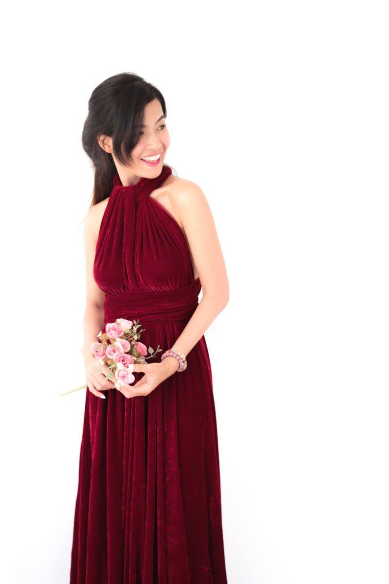 a0908c3244bb4 Wine Velvet Dress Convertible Dress Red Velvet Bridesmaid   Etsy