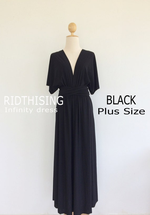 Plus Size Black Bridesmaid Dress Maxi infinity Dress Prom Dress Convertible  Dress Wrap Dress